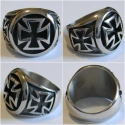 Серебряное кольцо Байкерский Железный Крест